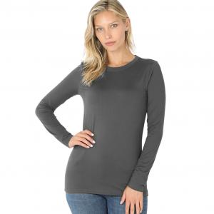 Wholesale  Ash Grey Brushed Fiber - Round Neck Long Sleeve 2053 - Medium