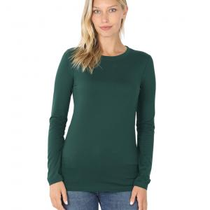 Wholesale  Hunter Green Brushed Fiber - Round Neck Long Sleeve 2053 - Medium