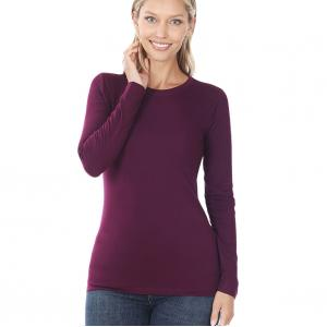 Wholesale  DARK PLUM SIX PACK Round Neck Long Sleeve 2053 1S/1M/2L/2XL - 1 Small 1 Medium 2 Large 2 Extra Large