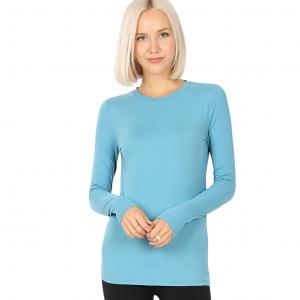 Wholesale  DUSTY TEAL SIX PACK Round Neck Long Sleeve 2053 1S/1M/2L/2XL - 1 Small 1 Medium 2 Large 2 Extra Large
