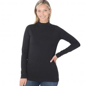Metallic Print Shawls with Buttons Black Mock Turtleneck - Cotton Long Sleeve 1059 - Medium