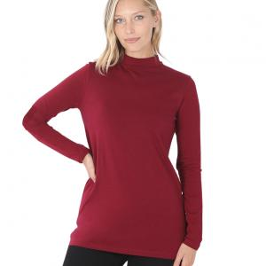 Wholesale  Cabernet Mock Turtleneck - Cotton Long Sleeve 1059 - Medium