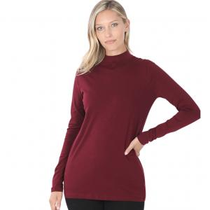 Wholesale  Dark Burgundy Mock Turtleneck - Cotton Long Sleeve 1059 - Large