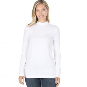 Wholesale  White Mock Turtleneck - Cotton Long Sleeve 1059 - Large