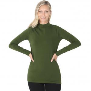 Wholesale  Army Green SIX PACK Mock Turtleneck - Cotton Long Sleeve 1059  1S/2M/2L/1XL) - 1 Small, 2 Medium, 2 Large, 1 Extra Large