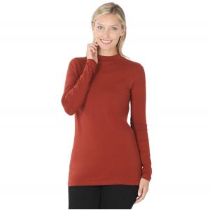 Wholesale  Dark Rust SIX PACK Mock Turtleneck - Cotton Long Sleeve 1059  1S/2M/2L/1XL) - 1 Small, 2 Medium, 2 Large, 1 Extra Large
