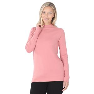 Wholesale  Dusty Rose SIX PACK Mock Turtleneck - Cotton Long Sleeve 1059  1S/2M/2L/1XL) - 1 Small, 2 Medium, 2 Large, 1 Extra Large