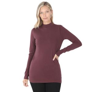 Wholesale  Eggplant SIX PACK Mock Turtleneck - Cotton Long Sleeve 1059 1S/2M/2L/1XL) - 1 Small, 2 Medium, 2 Large, 1 Extra Large
