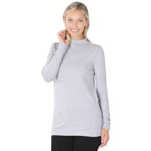 Wholesale  Heather Grey SIX PACK Mock Turtleneck - Cotton Long Sleeve 1059  1S/2M/2L/1XL) - 1 Small, 2 Medium, 2 Large, 1 Extra Large