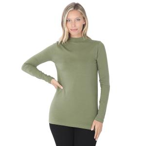 Wholesale  Light Olive SIX PACK Mock Turtleneck - Cotton Long Sleeve 1059 1S/2M/2L/1XL) - 1 Small, 2 Medium, 2 Large, 1 Extra Large