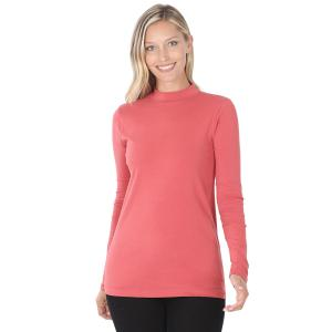 Wholesale  Rose SIX PACK Mock Turtleneck - Cotton Long Sleeve 1059 1S/2M/2L/1XL) - 1 Small, 2 Medium, 2 Large, 1 Extra Large