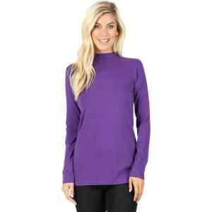 Wholesale  PURPLE SIX PACK Mock Turtleneck - Cotton Long Sleeve 1059  1S/2M/2L/1XL) - 1 Small, 2 Medium, 2 Large, 1 Extra Large