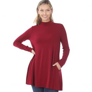 Wholesale  Cabernet Mock Turtleneck - Long Sleeve with Pockets 1641 	 - Large