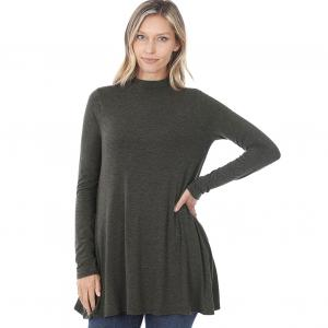 Wholesale  Charcoal Mock Turtleneck - Long Sleeve with Pockets 1641 	 - Large