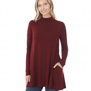 Wholesale  Dark Burgundy Mock Turtleneck - Long Sleeve with Pockets 1641 	 - Medium