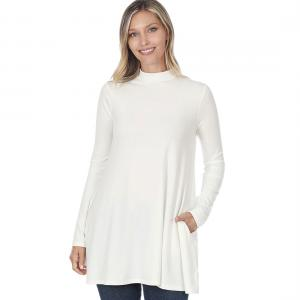 Wholesale  Ivory Mock Turtleneck - Long Sleeve with Pockets 1641 	 - Large