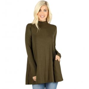 Wholesale  DARK OLIVE SIX PACK Mock Turtleneck - Long Sleeve with Pockets 1641 (1S/1M/2L/2XL)/ - 1 Small 1 Medium 2 Large 2 Extra Large