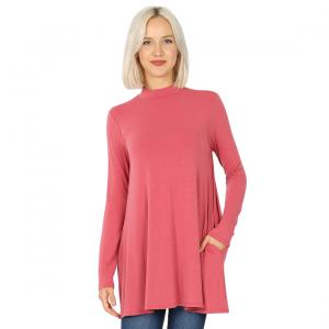 Wholesale  ROSE SIX PACK Mock Turtleneck - Long Sleeve with Pockets 1641(1S/1M/2L/2XL)/ - 1 Small 1 Medium 2 Large 2 Extra Large