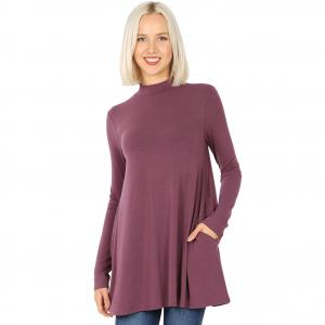 Wholesale  EGGPLANT Mock Turtleneck - Long Sleeve with Pockets 1641 	 - Medium