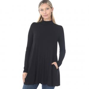 Wholesale  Black Mock Turtleneck - Long Sleeve with Pockets 1641 	 - Large