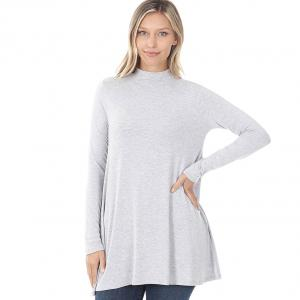 Wholesale  HEATHER GREY SIX PACK Mock Turtleneck - Long Sleeve with Pockets 1641 (1S/1M/2L/2XL)/ - 1 Small 1 Medium 2 Large 2 Extra Large