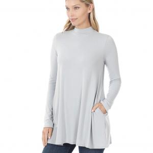 Wholesale  LIGHT GREY SIX PACK Mock Turtleneck - Long Sleeve with Pockets 1641 (1S/1M/2L/2XL)/ - 1 Small 1 Medium 2 Large 2 Extra Large