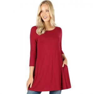 Wholesale  Dark Red Boat Neck 3/4 Sleeve Flared Top with Pockets 1632 - 2X