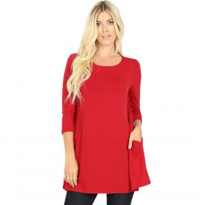 Wholesale  Dark Red Boat Neck 3/4 Sleeve Flared Top with Pockets 1632 - 3X