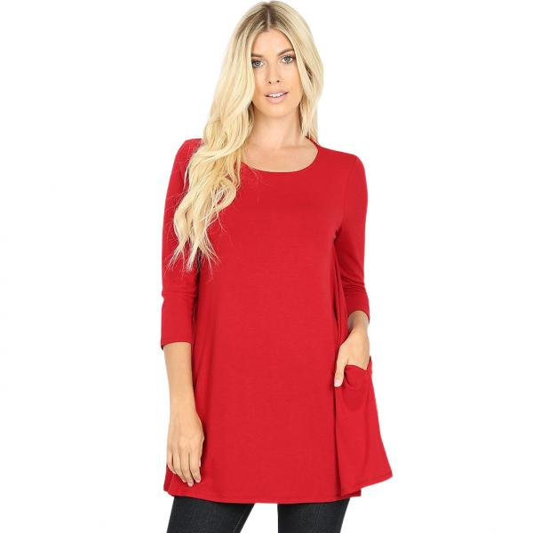 Wholesale Boat Neck 3/4 Sleeve Flared Top w/ Pockets 1632   Dark Red Boat Neck 3/4 Sleeve Flared Top with Pockets 1632 - 3X