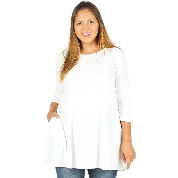 Wholesale Boat Neck 3/4 Sleeve Flared Top w/ Pockets 1632   Ivory Boat Neck 3/4 Sleeve Flared Top with Pockets 1632 - 1X
