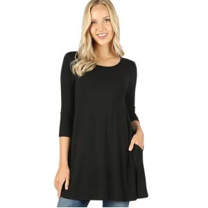 Metallic Print Shawls with Buttons Black Boat Neck 3/4 Sleeve Flared Top with Pockets 1632 - Small