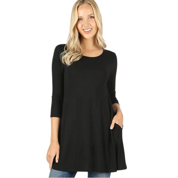 Wholesale Boat Neck 3/4 Sleeve Flared Top w/ Pockets 1632   Black Boat Neck 3/4 Sleeve Flared Top with Pockets 1632 - Medium