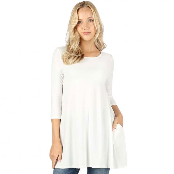 Wholesale Boat Neck 3/4 Sleeve Flared Top w/ Pockets 1632   Ivory Boat Neck 3/4 Sleeve Flared Top with Pockets 1632 - Small