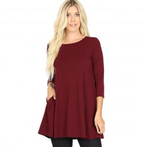 Metallic Print Shawls with Buttons Dark Burgundy Boat Neck 3/4 Sleeve Flared Top with Pockets 1632 - Medium