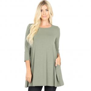 Wholesale  Light Olive Boat Neck 3/4 Sleeve Flared Top with Pockets 1632 - Small