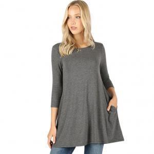 Wholesale  CHARCOAL SIX PACK Boat Neck 3/4 Sleeve Flared Top with Pockets 1632 - 1 Small, 2 Medium, 2 Large, 1 Extra Large