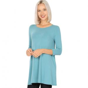 Wholesale  DUSTY TEAL SIX PACK Boat Neck 3/4 Sleeve Flared Top with Pockets 1632 - 1 Small, 2 Medium, 2 Large, 1 Extra Large