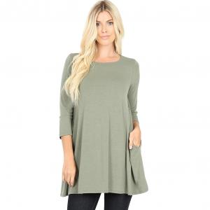 Wholesale  LIGHT OLIVE SIX PACK Boat Neck 3/4 Sleeve Flared Top with Pockets 1632 - 1 Small, 2 Medium, 2 Large, 1 Extra Large