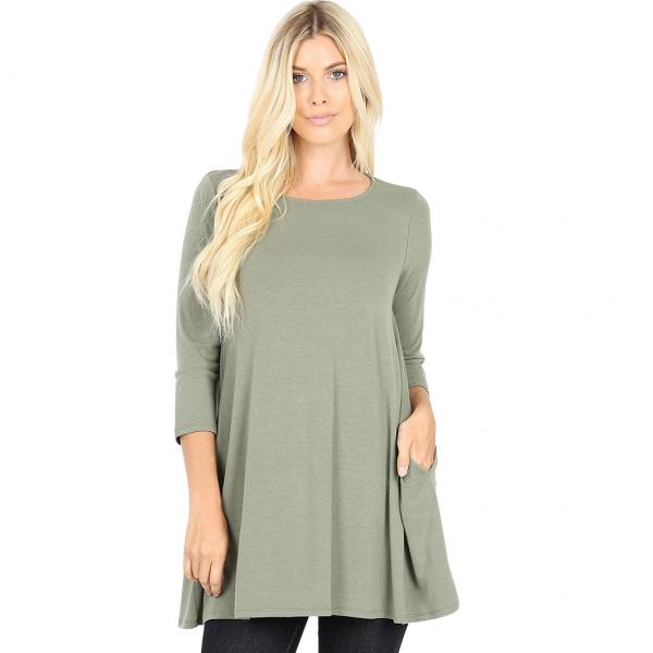Wholesale Boat Neck 3/4 Sleeve Flared Top w/ Pockets 1632   Light Olive Boat Neck 3/4 Sleeve Flared Top with Pockets 1632 - 3X