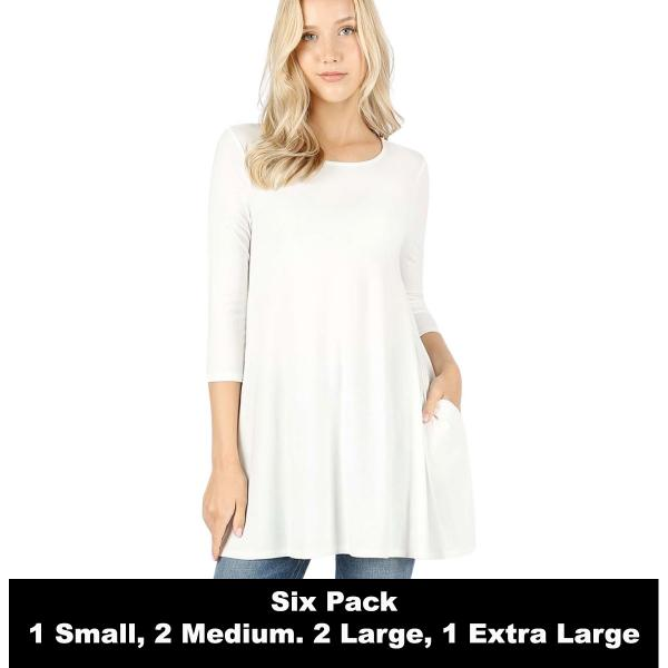 Wholesale Boat Neck 3/4 Sleeve Flared Top w/ Pockets 1632    IVORY SIX PACK Boat Neck 3/4 Sleeve Flared Top with Pockets 1632 - 1 Small, 2 Medium, 2 Large, 1 Extra Large