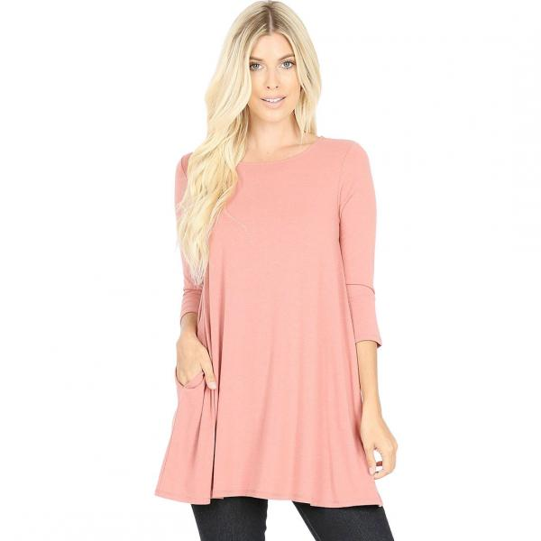Wholesale Boat Neck 3/4 Sleeve Flared Top w/ Pockets 1632   ASH ROSE Neck 3/4 Sleeve Flared Top with Pockets 1632 - Medium