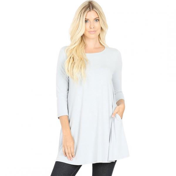 Wholesale Boat Neck 3/4 Sleeve Flared Top w/ Pockets 1632   GREY MIST Neck 3/4 Sleeve Flared Top with Pockets 1632 - Small