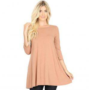 Wholesale  EGG SHELL Neck 3/4 Sleeve Flared Top with Pockets 1632 - Large