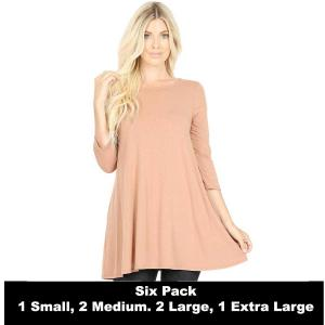 Wholesale   EGG SHELL SIX PACK Boat Neck 3/4 Sleeve Flared Top with Pockets 1632 - 1 Small, 2 Medium, 2 Large, 1 Extra Large
