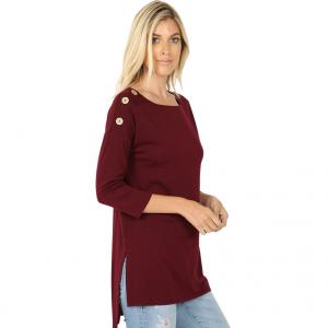 Metallic Print Shawls with Buttons Dark Burgundy Boat Neck Hi-Lo Top w/ Wooden Buttons 2082 - Small