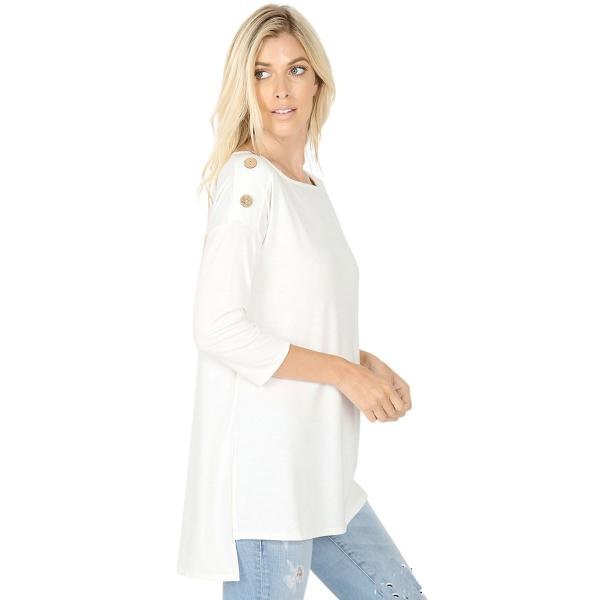 Wholesale Boat Neck Hi-Lo Top w/ Wooden Buttons 2082 Ivory Boat Neck Hi-Lo Top w/ Wooden Buttons 2082 - Small