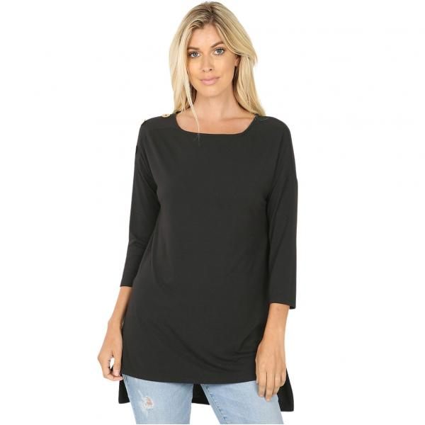 Wholesale Boat Neck Hi-Lo Top w/ Wooden Buttons 2082 Black Boat Neck Hi-Lo Top w/ Wooden Buttons 2082 - Large