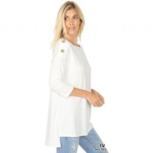 Metallic Print Shawls with Buttons Ivory Boat Neck Hi-Lo Top w/ Wooden Buttons 2082 - Medium
