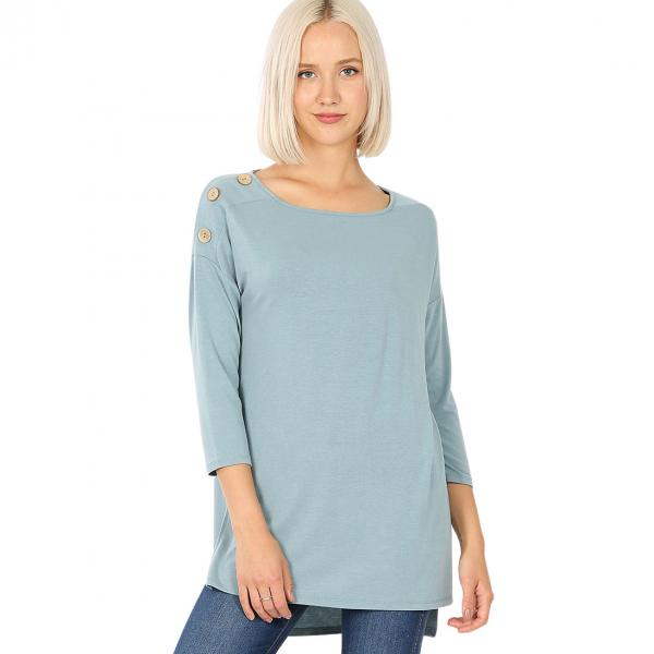 Wholesale Boat Neck Hi-Lo Top w/ Wooden Buttons 2082 BLUE GREY Boat Neck Hi-Lo Top w/ Wooden Buttons 2082 - Small