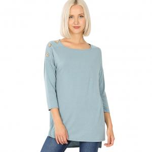 Wholesale  BLUE GREY Boat Neck Hi-Lo Top w/ Wooden Buttons 2082 - Large